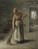 Jean-François Millet - A Farmer's wife sweeping, 1867