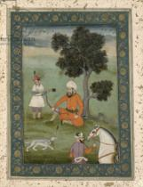 Mughal School - A Trans-Oxonian nobleman seated beneath a tree, from the Large Clive Album, c.1765
