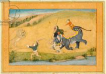 Mughal School - Three men lion hunting, from the Large Clive Album