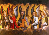 Hans Memling - Angels Playing Musical Instruments, right hand panel from a triptych from the Church of Santa Maria la Real, Najera, c.1487-90
