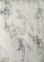 Leonardo da Vinci - Six Figures, Study for an Epiphany