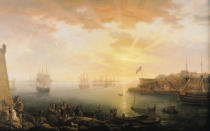 Jean-Francois Hue - View of Brest Harbour, 1796