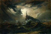 Karl Blechen - Stormy sea with Lighthouse