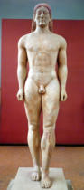 Greek School - Anavysos Kouros, funerary statue of Croisos (560-546 BC) King of Lydia, c.530-520 BC