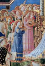 Fra Angelico - Detail of The Coronation of the virgin, detail of musical angels from the left hand side, c.1430-32