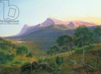 Eugene von Guerard - Aborigines by a Fire before Mount William as seen from Mount Dryden in the Grampians, Victoria, 1892