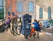 V. Janson - Worker striking money in the Monnaie de Paris, plate 9 from a teaching book on industries and jobs, published c.1860