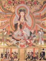 Chinesische Malerei - Buddhist banner depicting Dizang and the Six Roads to Rebirth, from Dunhuang