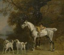 George Townley Stubbs - Huntsman with a Grey Hunter and Two Foxhounds: details from the Goodwood 'Hunting' picture, 1760-61