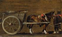 John Constable - A Farm Cart with two Horses in Harness: A Study for the Cart in 'Stour Valley and Dedham Village, 1814'