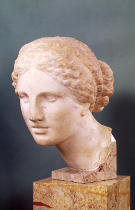 Greek School - The Kauffmann Head, Head of Aphrodite, copy of the Aphrodite of Cnidus by Praxiteles (fl.375-40 BC) c.150 BC