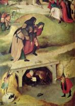 Hieronymus Bosch - Temptation of St. Anthony, detail from left hand panel of the triptych