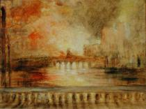 English School - The Burning of the Houses of Parliament, previously attributed to J.M.W. Turner (1775-1851)