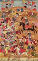 Persian School - Battle between the Persians and the Turanians, illustration from the 'Shahnama' , by Abu'l-Qasim Manur Firdawsi (c.934-c.1020)
