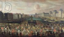 French School - Procession of Louis XIV (1638-1715) Across the Pont-Neuf, 1665-69