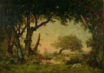 Pierre Etienne Théodore Rousseau - The Edge of the Forest at Fontainebleau, Setting Sun, 1850-51