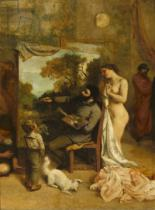 Gustave Courbet - The Artist's Studio, a Real Allegory, detail of the painter and his model, 1854-55