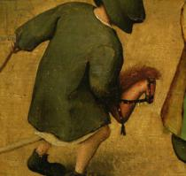 Pieter Brueghel der Ältere - Children's Games, detail of bottom section showing a child and a hobby-horse, 1560  (detail of 68945)