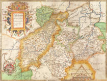 Christopher Saxton - Map of Northampton and adjacent counties, from 'Atlas of England and Wales', 1576