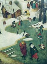 Pieter Brueghel der Ältere - Children Playing on the Frozen River, detail from the Census of Bethlehem