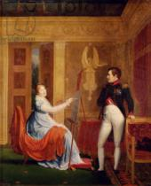 Alexandre Menjaud - Marie Louise (1791-1847) of Habsbourg Lorraine Painting a Portrait of Napoleon I (1769-1821)