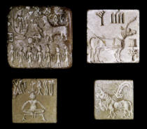 Harappan - Four seals depicting mythological animals, from Mohenjo-Daro, Indus Valley, Pakistan, 3000-1500 BC