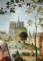 French School - Detail of Shepherd with flock and bathers in the River Seine