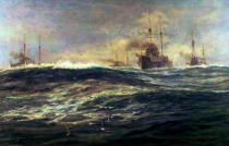 William Lionel Wyllie - 1st Battle Squadron of Dreadnoughts Steaming down the Channel in 1911