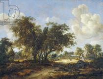 Meindert Hobbema - Wooded Landscape with Cottages, 1665