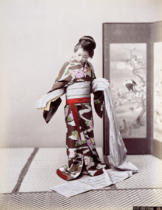 Japanese School - Young Japanese Girl Dressing, late 19th century