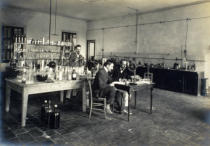 French School - A corner of the chemistry laboratory, from 'Industrie des Parfums a Grasse', c.1900