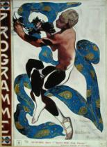 Leon Bakst - Nijinsky's Faun Costume in 'L'Apres Midi d'un Faune' by Claude Debussy (1862-1918) from the front cover of the programme for the