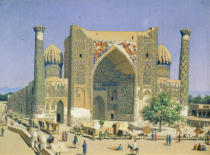 Vasili Vasilievich Vereshchagin - Medrasah Shir-Dhor at Registan place in Samarkand, 1869-70