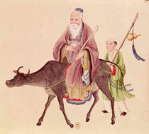 Chinesische Malerei - Lao-Tzu (c.604-531) on his buffalo, followed by a disciple