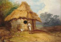 George Chinnery - View in Southern India, with a Warrior Outside his Hut, c.1815