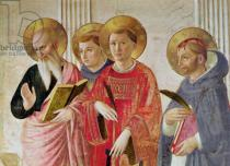 Fra Angelico - Madonna of the Shadow, detail of Saints John the Evangelist, Thomas Aquinas, Lawrence and Peter Martyr, from the first floor cor