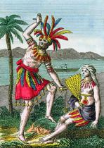 French School - Native inhabitants of the Marquesas Islands, illustration from 'Histoire des Voyages Autour du Monde' by J. Dufay, published by