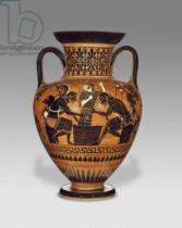 Greek School - Athenian Attic black-figure neck amphora with Ajax and Achilles, c.510 BC