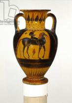 Greek School - Chalcidian neck amphora with naked rider c.520-510 BC