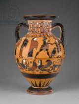Greek School - Euboean black-figure neck amphora decorated with the judgement of Paris, c.570-60