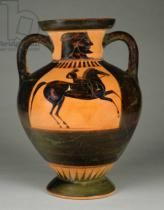 Greek School - Athenian Attic black-figure amphora with naked rider, c.570-60