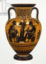Greek School - Athenian Attic black-figure neck amphora, attributed to the Leagros group, with Ajax and Achilles, c.510 BC