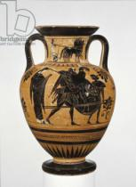 Greek School - Athenian Attic black-figure neck amphora showing the sack of Troy c.510 BC