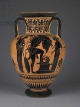 Greek School - Athenian Attic black-figure amphora with Heracles carrying the Erymanthean boar, c.510 BC