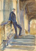 John Singer Sargent - Sir Neville Wilkinson on the Steps of the Palladian Bridge at Wilton House, 1904-5