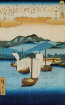 Ando or Utagawa Hiroshige - Returning Sails at Yabase from the series Eight Views of Omi, c.1855-8