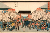 Ando or Utagawa Hiroshige - Cherry Blossom Time in Nakanoch? of the Yoshiwara from the series Famous Places of Edo, c.1848-9