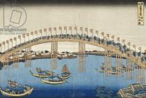 Katsushika Hokusai - Temma Bridge, Settsu Province from the Series Wondrous Views of Famous Bridges of Various Provinces, c.1835