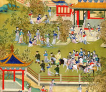 Chinesische Malerei - Detail of Emperor Yang Ti (581-618) strolling in his gardens with his wives, from a history of Chinese emperors