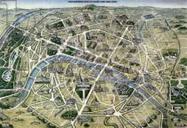 Hilaire Guesnu - Map of Paris during the period of the 'Grands Travaux' by Baron Georges Haussmann (1809-91) 1864